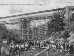 Stavba velkého železničního mostu u Nebřezin